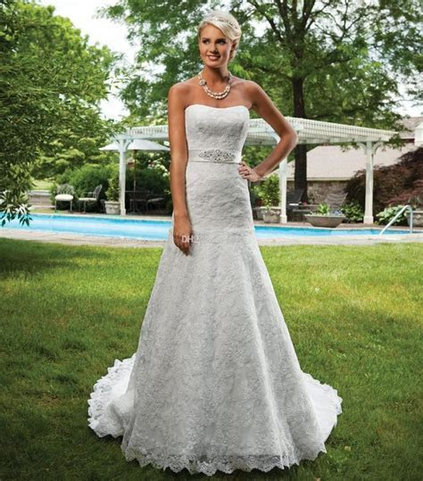 Lace Wedding Dresses Strapless A line Beaded Bridal