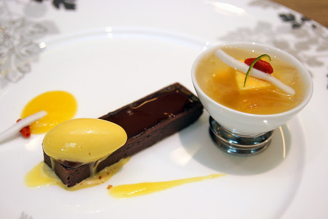 Forest Delight - chocolate ganache, passionfruit sorbet and lemongrass jelly