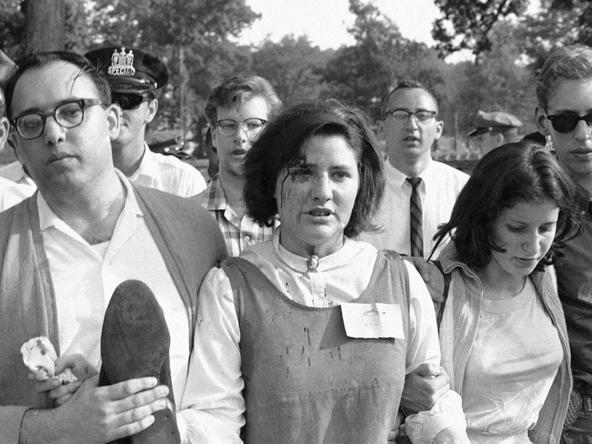 Demonstrations around the country began happening with greater fervency and frequency. Here, Alison Turaj continued marching through Gwynn Oak Amusement Park in Baltimore, despite a cut on her forehead. During a peaceful demonstration in July, a mob of angry whites threw rocks at her and others. Yet police arrested more than 100 black and white integrationists that day.