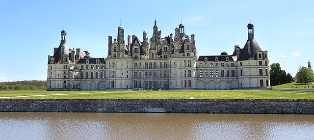 North side of Chateau de Chambord, in the Loire Valley, France