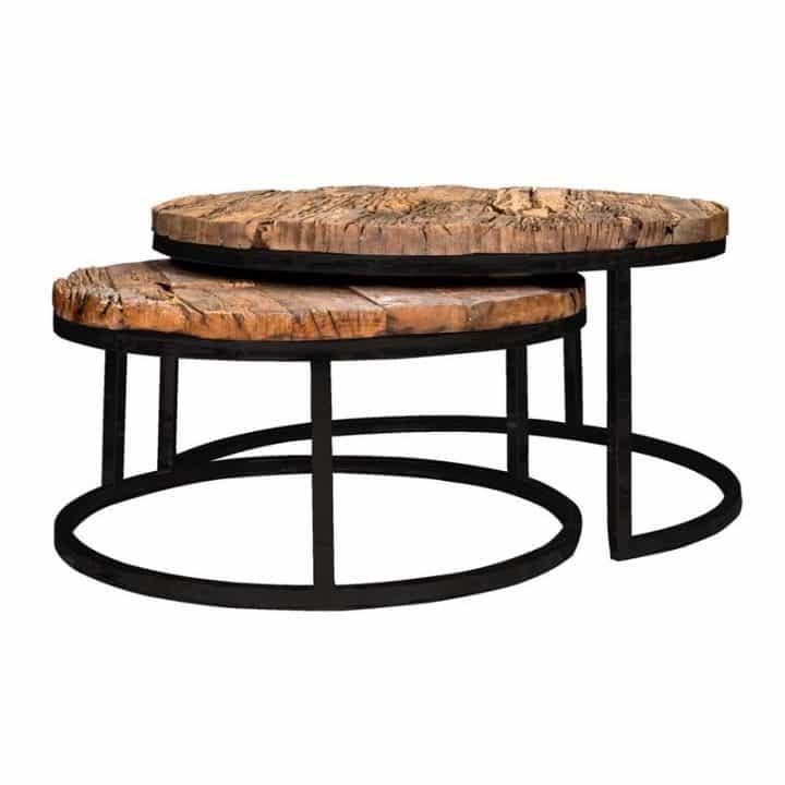 Table Basse Ronde En Bois De Teck Et Ses Pieds En Metal A Decouvrir