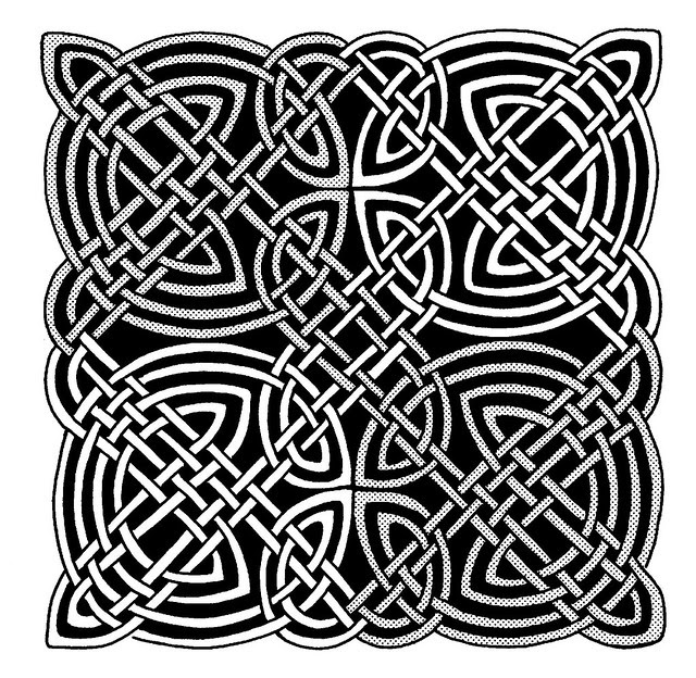 Early Medieval Celtic knotwork line drawing design
