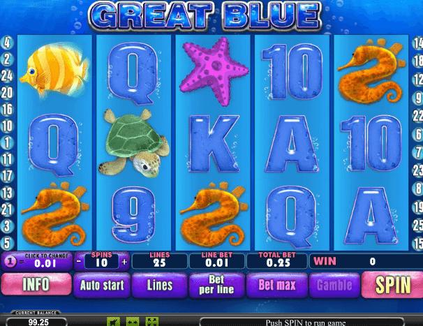 Игровой автомат Great Blue Игровой автомат Great Blue — это аппарат, который познакомит гэмблеров с обитателями глубоких вод.Поле оформлено в соответствующем стиле.Новочеркасск