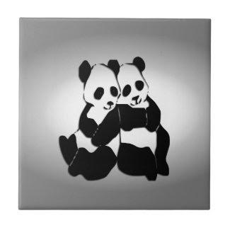 Cute Panda Bears Tile