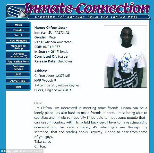Jeter's profile on Inmate-Connection states that he misses being able to 'socialize and mingle'