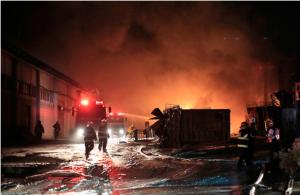 שריפה במפעל צבע בשדרות