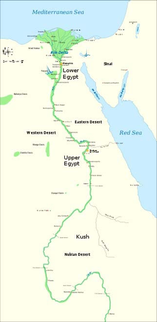 Map showing the Nile river.