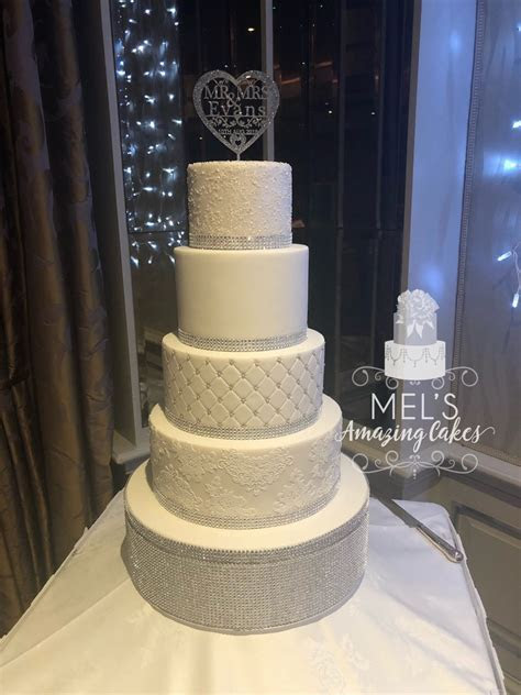 5 Tier Wedding Cake with Diamante Trim   Mel's Amazing Cakes
