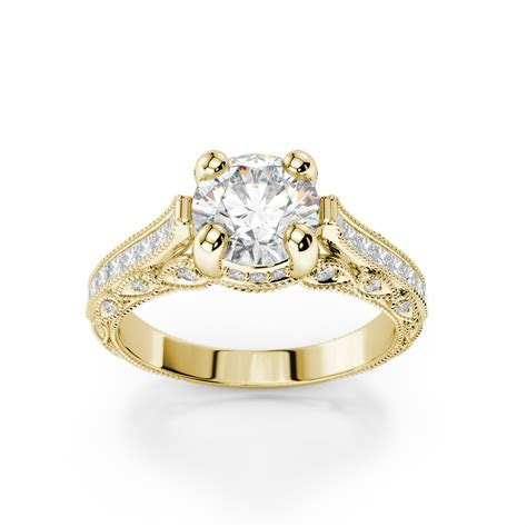 Pave Diamond Milgrain Engagement Ring 18KT Yellow Gold