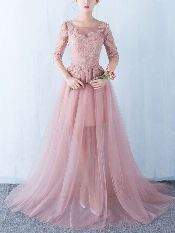 Pretty Princess Scoop Neck Tulle with Appliques Lace Floor-length 1/2 Sleeve Prom Dresses #UKM020103254