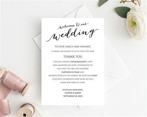 Welcome to Our Wedding Card · Wedding Templates and Printables