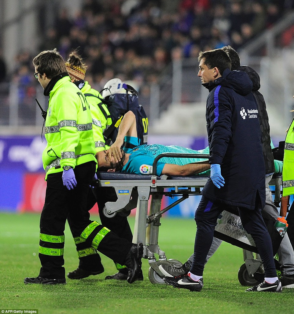 Barcelona midfielder Busquets was forced off with an ankle injury early on in the match against Eibar