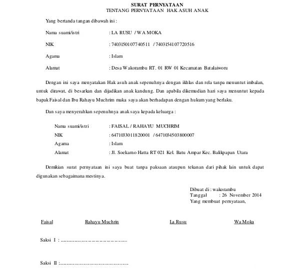 Contoh Surat Perjanjian Cerai Dan Hak Asuh Anak