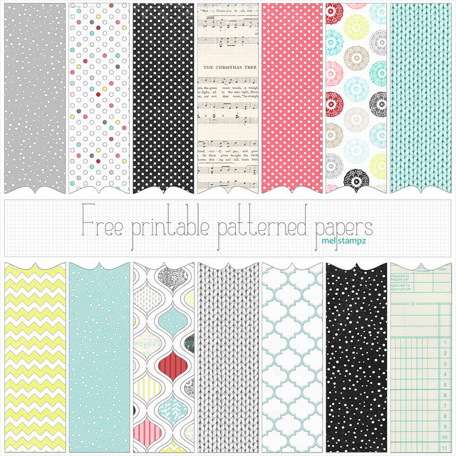 Mel Stampz Free Christmas Printable Or Digital Papers Set 1
