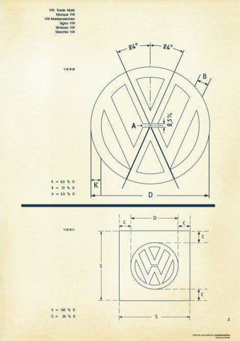 recreated vintage vw logo specification poster