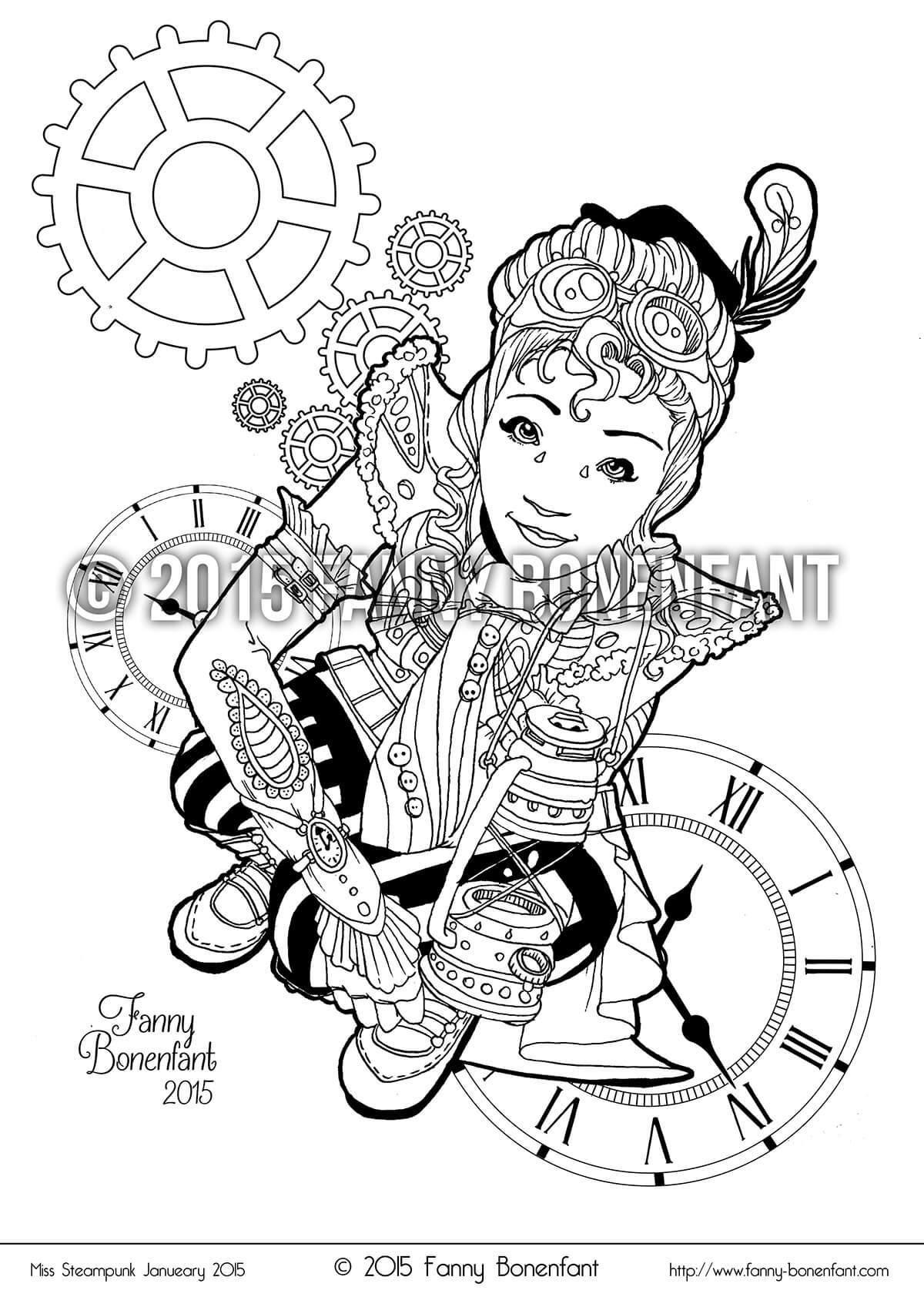 Steampunk pin up January 2015 – coloriage détente et fun