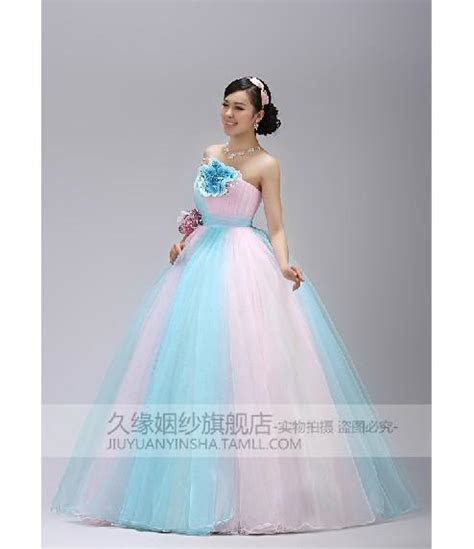 Discount Stunning A Line Strapless Light Sky Blue And Pink