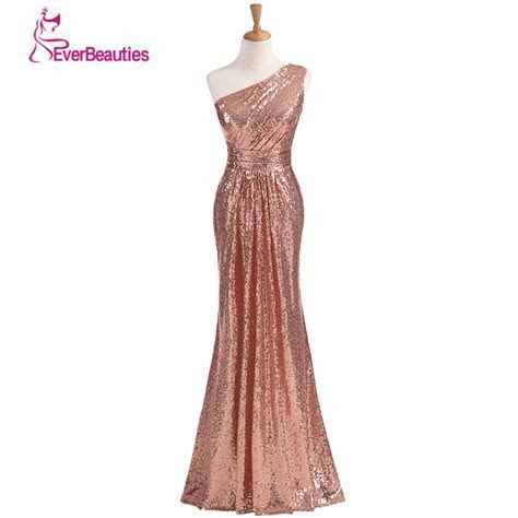 Sparkly Bridesmaid Dresses Long Sequins 2019 Rose Gold