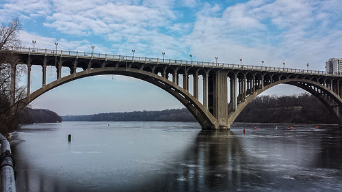 ford parkway bridge over frozen mississippi river