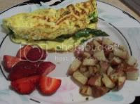 Asparagus Omelet and Red New Potato Homefries