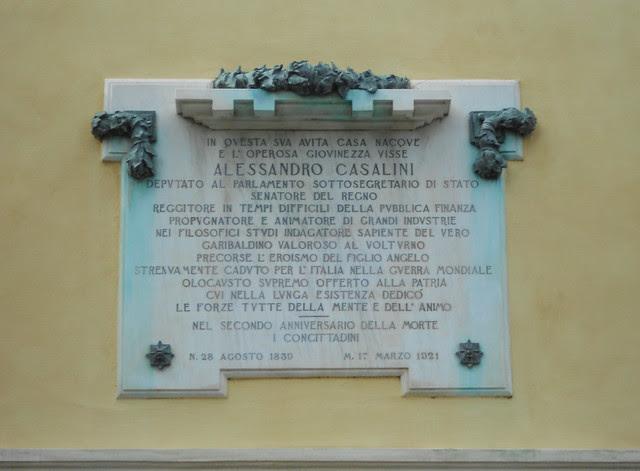 lapide Alessandro Casalini, palazzo Casalini, Virgilio Milani, Rovigo