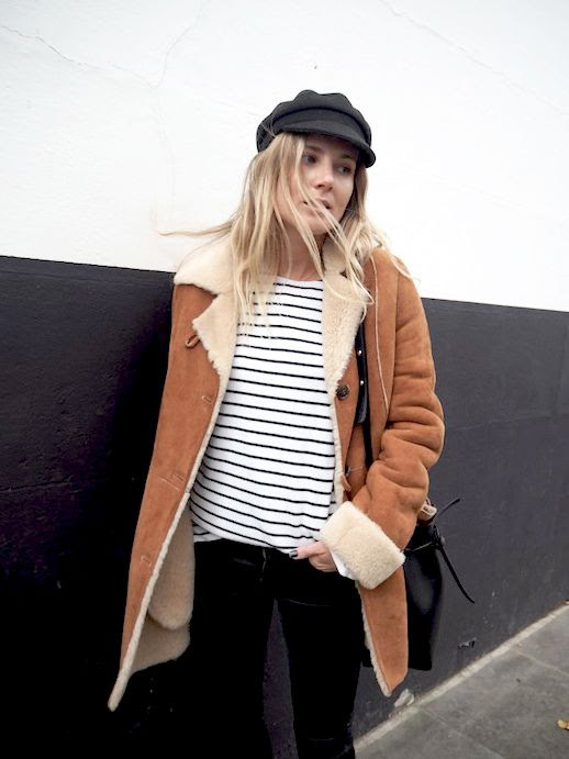 Le Fashion Blog Winter Style Black Hat Sherpa Lined Jacket Navy And White Striped Tee Dark Grey Faded Denim Via Fashion Me Now