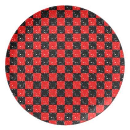 White, Red, And Black MTJ Melamine Plate