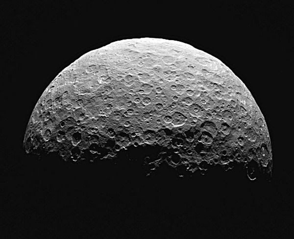 An image of the dwarf planet Ceres that was taken by NASA's Dawn spacecraft from a distance of about 14,000 miles (22,000 kilometers), on April 14 and 15, 2015.