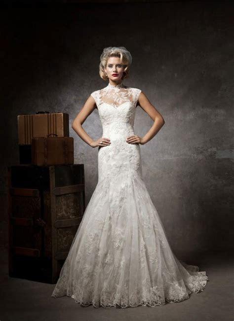 Lace Button High Neck Court Train Cap Sleeve Wedding Dress