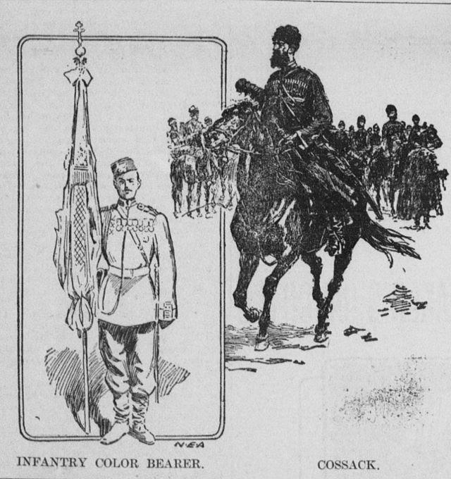 An infantry color-bearer and a cossack on horseback.jpg