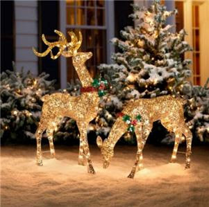 3pc Outdoor Lighted Pre Lit GOLD REINDEER DEER SLEIGH Christmas Holiday Decor  eBay