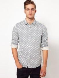 Asos Chambray Shirt With Polka Dot