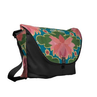 Pink Water Lilies, Dragonflies Large Messenger Bag
