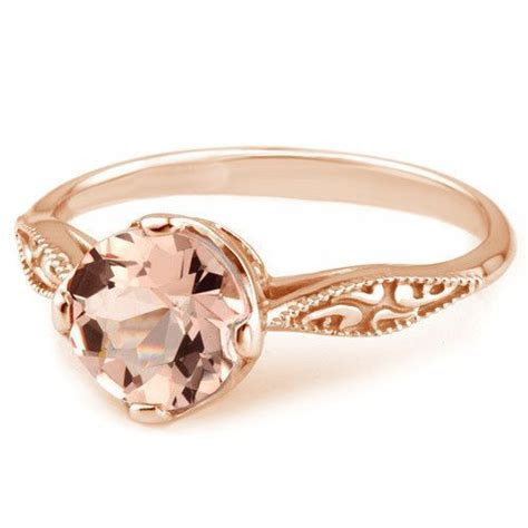Peach Pink Morganite 14k Rose Gold Vintage Solitaire