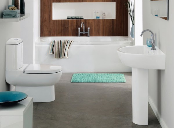 White teal and aqua marine bathroom with wood feature