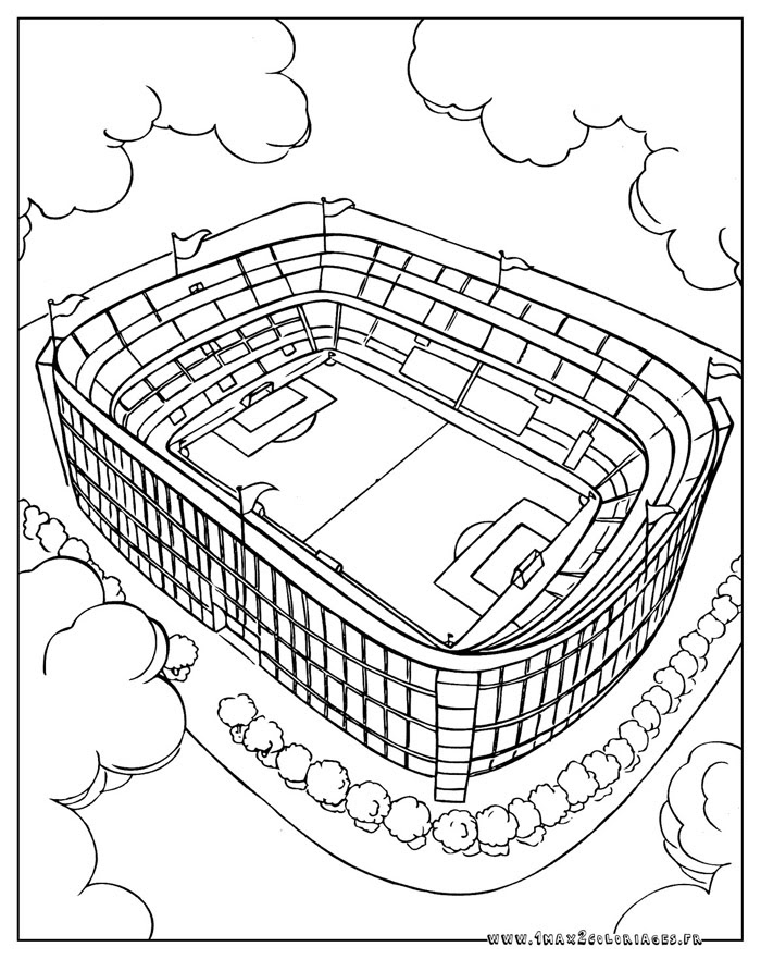 Coloriages Football A Imprimer Et à Colorier Grand Stade De Foot