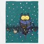 Owl with scarf fleece blanket