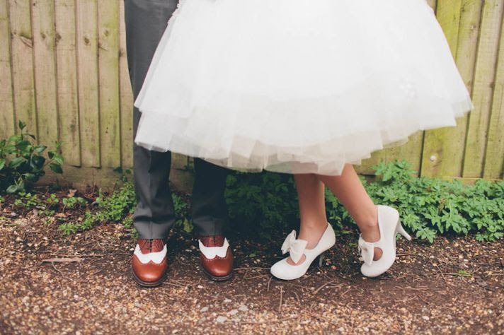 Casual Bride and Groom with 1950s vintage style