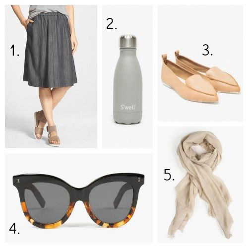 Eileen Fisher Skirt - S'Well Water Bottle - Jeffrey Campbell Loafers - Illesteva Sunglasses - Azalea Scarf