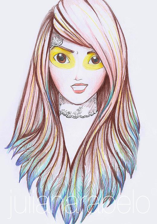 parece que eu consegui colorir todo o desenho usando apenas seis cores… :D o processo todo está aqui:http://dropsdeilustracao.blogspot.com.br/2012/05/feather-haired-girl-processo.html