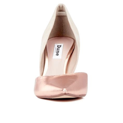 dune womens cindee leather court shoes rose gold