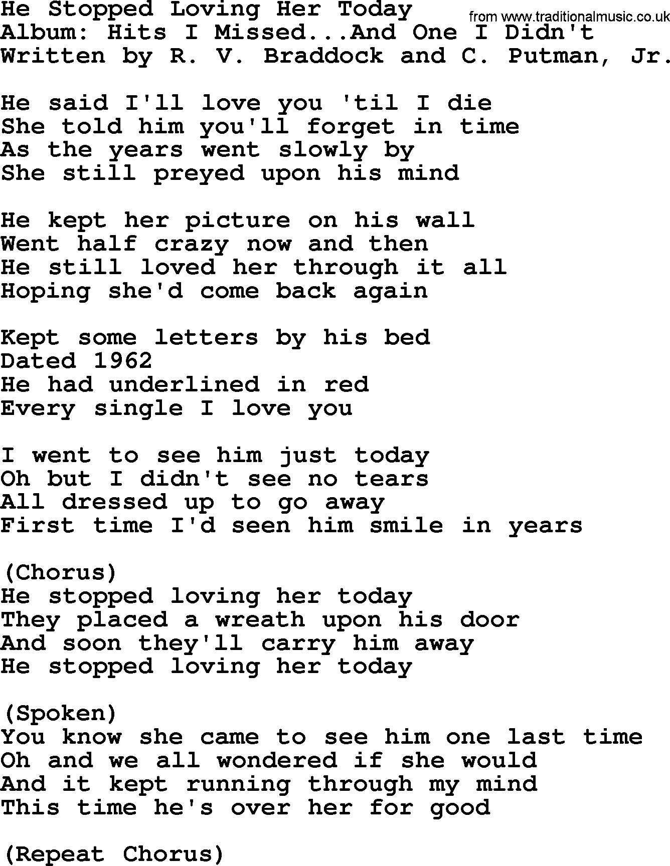 George Jones He Stopped Loving Her Today Lyrics   LyricsWalls