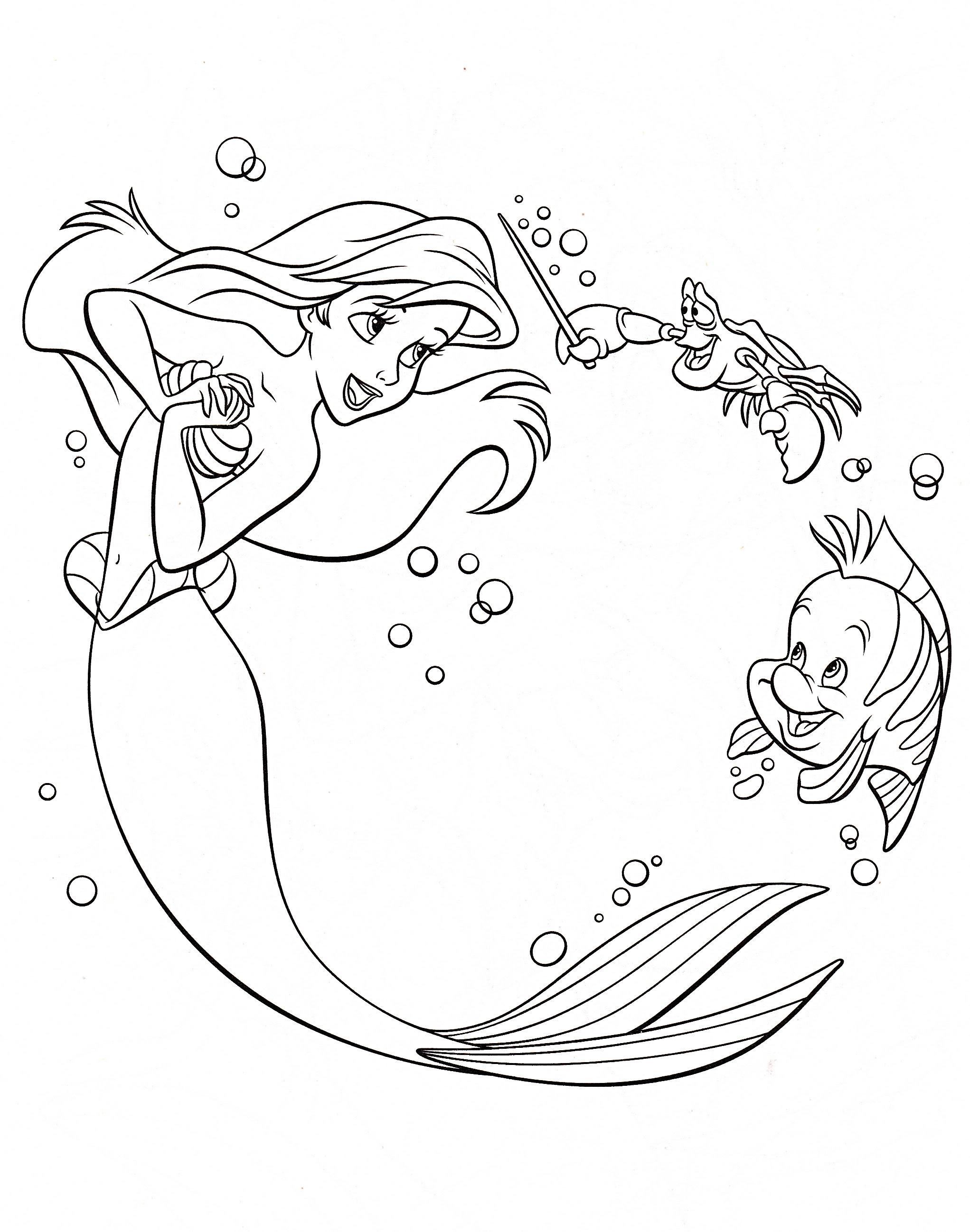 Walt Disney Coloring Pages - Princess Ariel, Sebastian ...