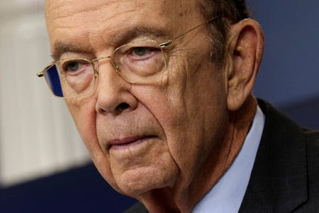 FILE PHOTO: U.S. Commerce Secretary Wilbur Ross speaks about new tariffs on Canadian softwood lumber from the White House in Washington, U.S. April 25, 2017.REUTERS/Yuri Gripas/File Photo