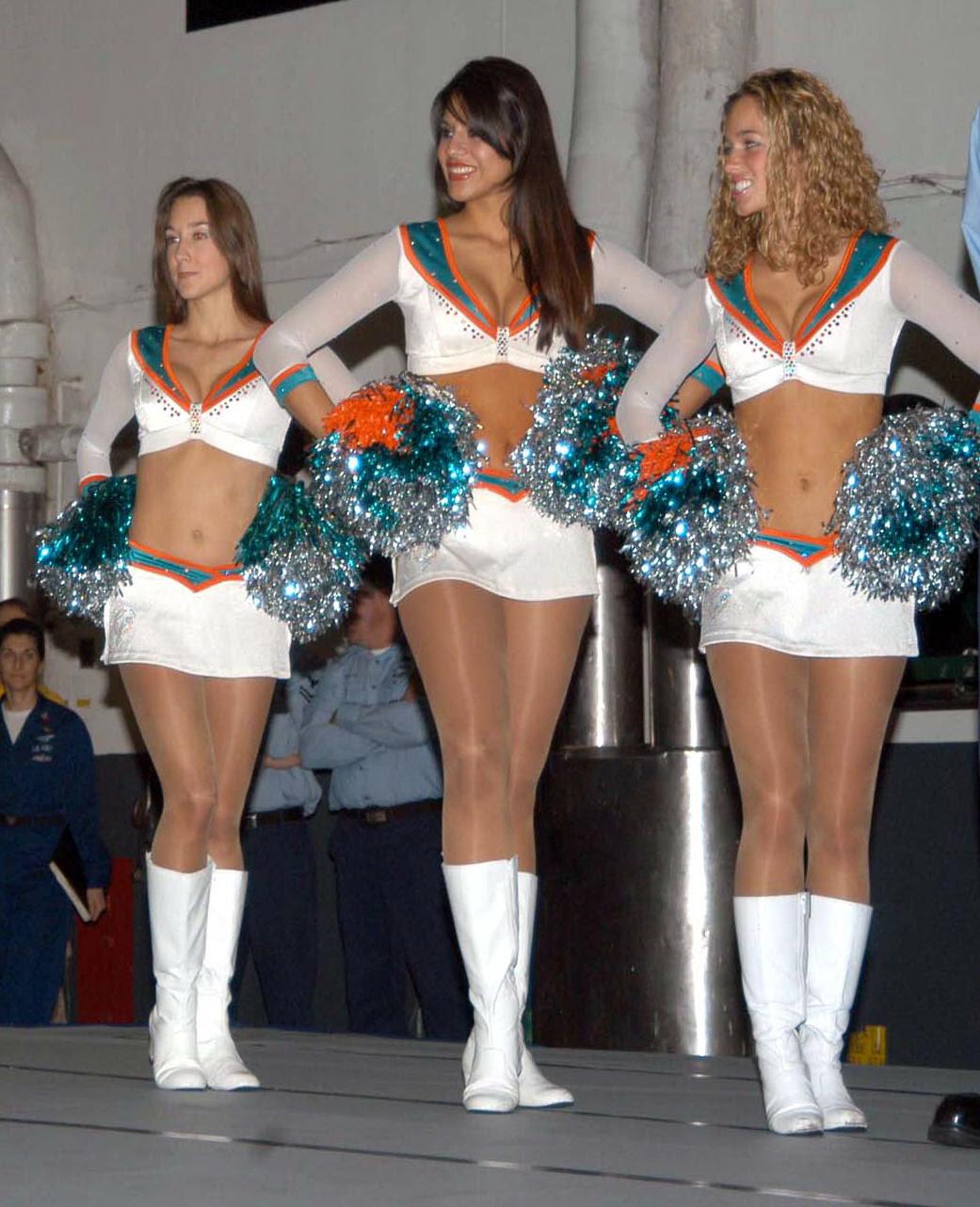 3 Miami Dolphins Cheerleaders In Beautiful Hosiery!