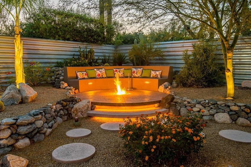 aggregate concrete stone steps to firepit