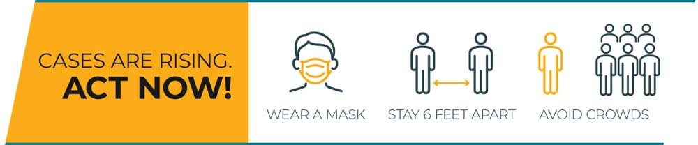 Cases are rising. Act Now! Wear a Mask Stay Six Feet Apart Avoid Crowds