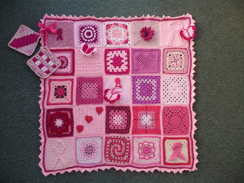 'Think Pink' Blanket for 'Breast Cancer Care'.