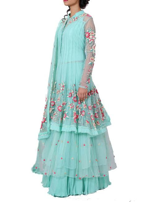 Anju Agarwal   Turquoise and Green Double Layer Jacket